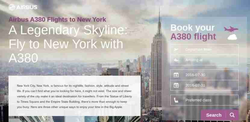 Airbus has a special landing page for each A380 destination and airline.