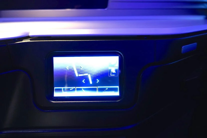 The touchscreen seat controls.