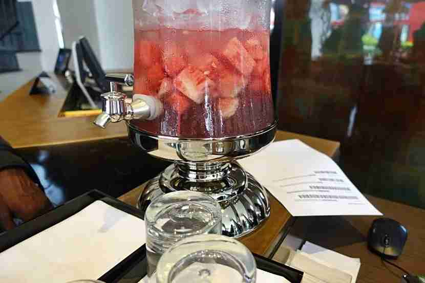 Watermelon water at the check-in desk.