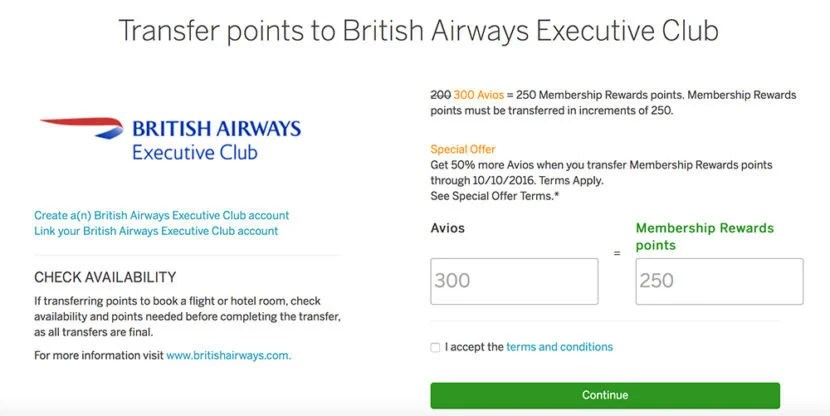 Transfer Membership Rewards points to British Airways and receive a 50% bonus.