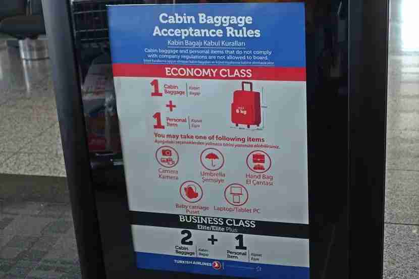 The cabin baggage requirements, although they weren