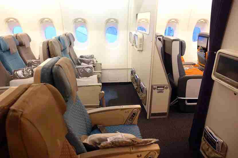 You can tell the difference between the economy and premium economy cabins.