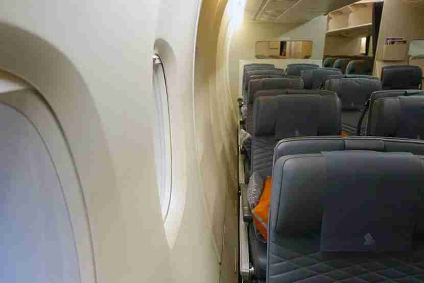 The space between the seat and the cabin wall is noticeable on the A380.