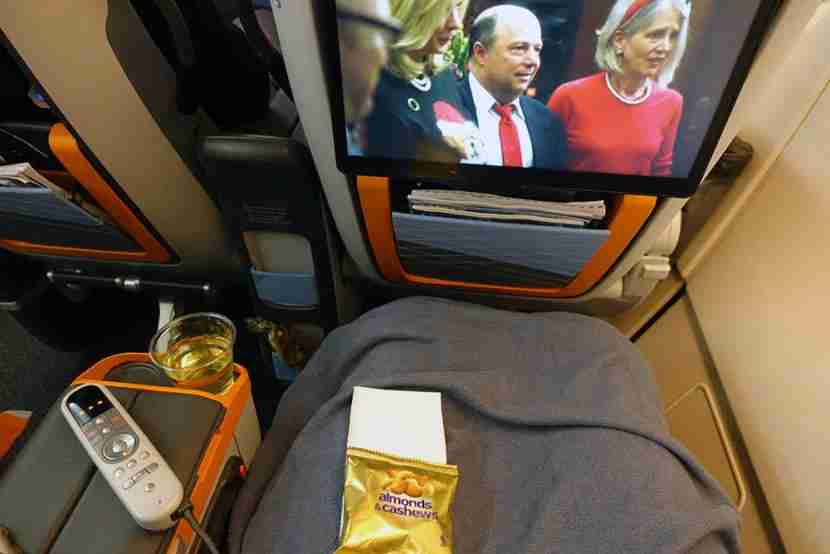 I had a good amount of room to stretch out and watch the IFE screen while snacking.