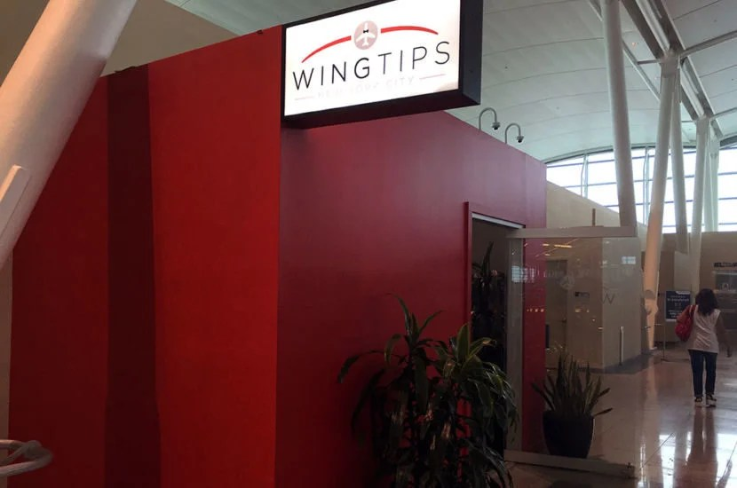 The exterior of the Wingtips Lounge in JFK's Terminal 4.