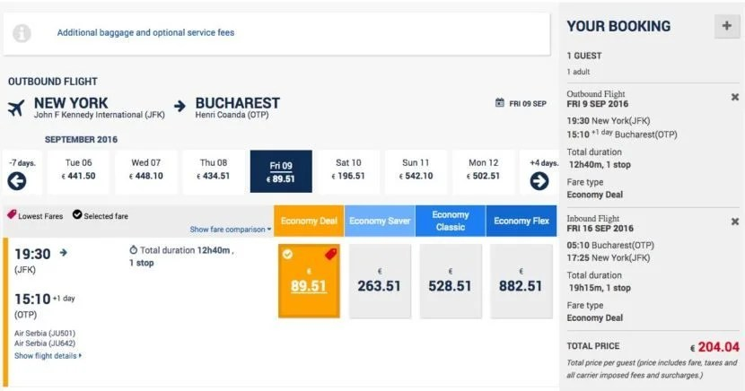 New York (JFK) to Bucharest (OTP) for $228 round-trip on Air Serbia.