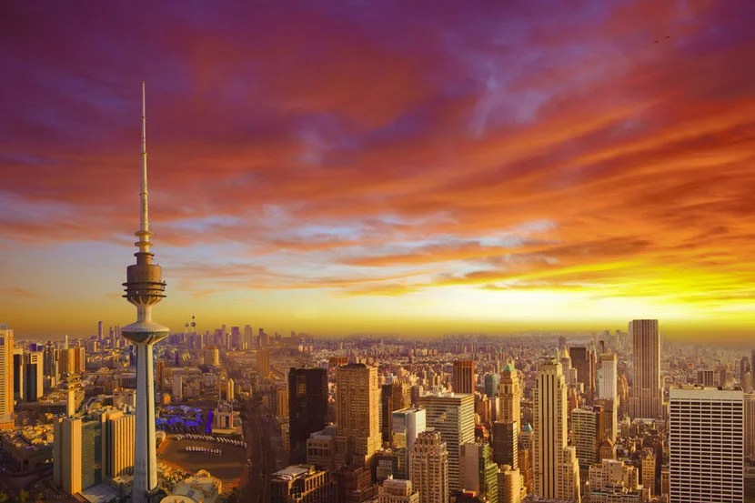 "Kuwait City has some of the hottest temperatures on earth. Image courtesy of <a href=""http://www.shutterstock.com/pic-195743102/stock-photo-kuwait-cityscape-during-the-sunset.html?src=cwNp95BAFki5KYFvSobPVQ-1-6"" target=""_blank"">Shutterstock</a>."