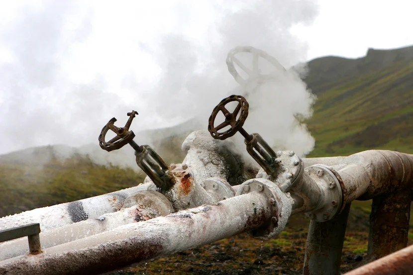 Hillside geothermal hotwater station to supply Icelandic town with natural hot water. Hissing tap detail