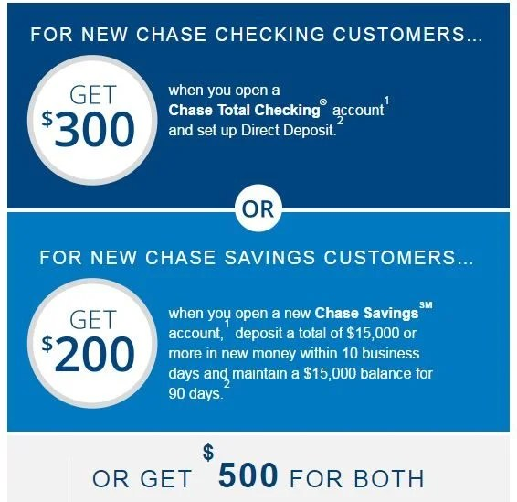 Up To 500 For Opening Chase Checking And Savings Accounts