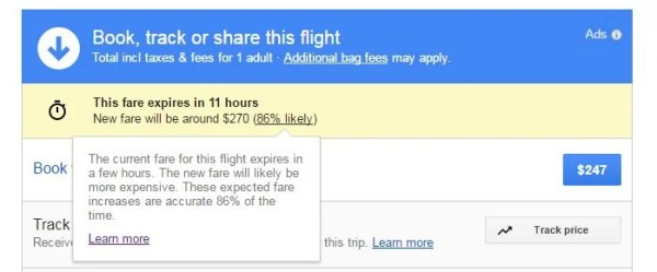 Google Flights now warns you when a fare is expiring soon. Image courtesy of Google Flights.