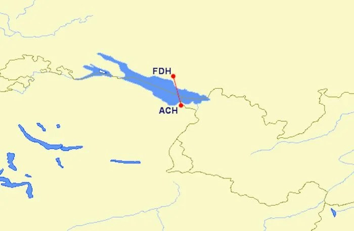 The route from ACH to FDH.