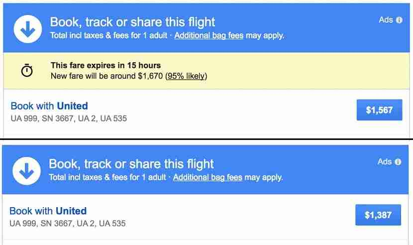 Before and after shows that Google Flights missed the mark on this prediction.
