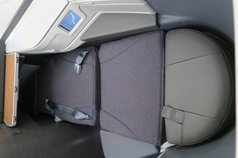 My fully-reclined business class seat.