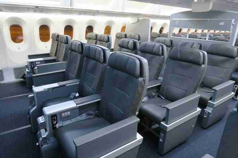 The Premium Economy cabin onboard the American Airlines 787-9 Dreamliner.