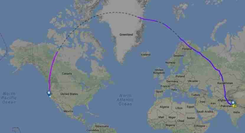 The previous routing for Air India flight 173.