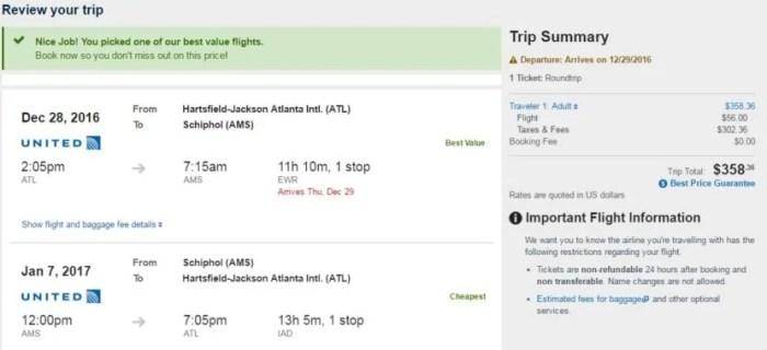 Atlanta (ATL) to Amsterdam (AMS) for $358 round-trip.