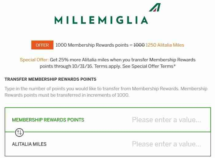 While the Amex MR transfer bonus goes through October 31, Alitalia