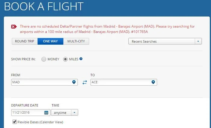 Delta isn't going to show you award availability from Madrid (MAD) to (ACE).