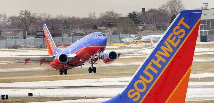 CHICAGO - APRIL 3: A Southwest Airlines jet takes off at Midway Airport April 3, 2008 in Chicago, Illinois. Officials from Southwest and other airlines will testify at a safety hearing on Capitol Hill today following recent cancellations of flights by Southwest, United, American and Delta airlines as jets were taken out of service for safety inspections. (Photo by Scott Olson/Getty Images)