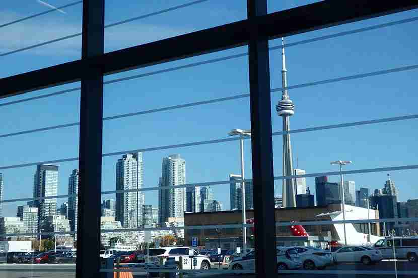 You can see most of the Toronto skyline and the CN Tower from the airport.