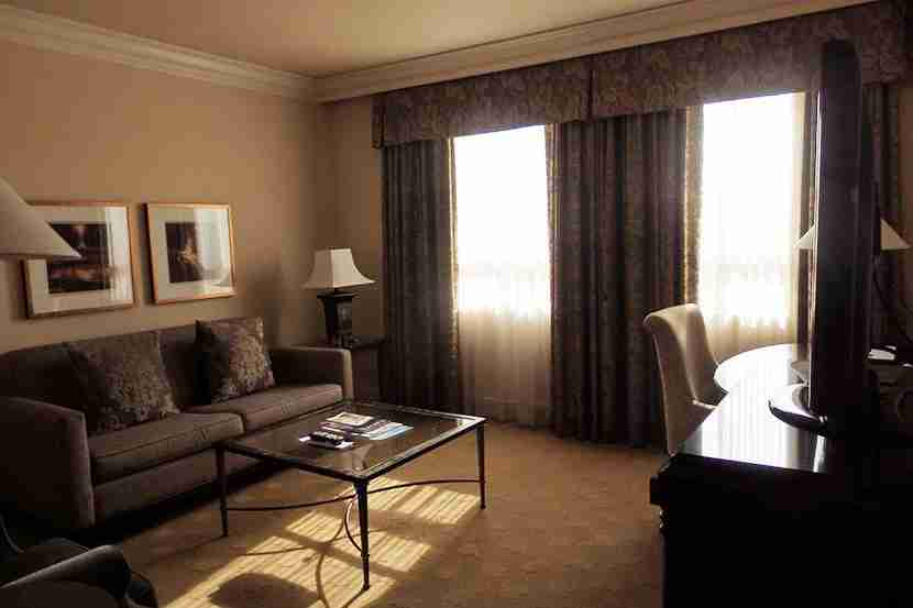 The suite had a spacious living room with a desk.