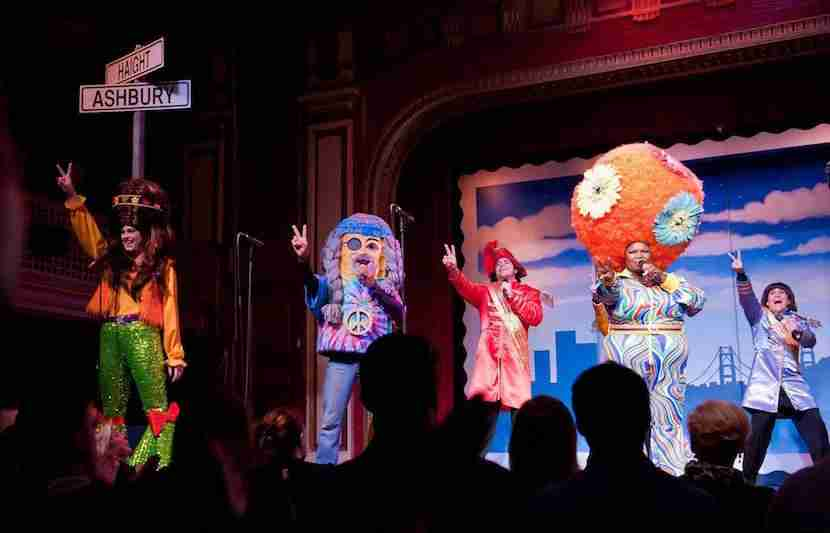 Big hats and big laughs are in store for you at Beach Blanket Babylon. Image courtesy of the show