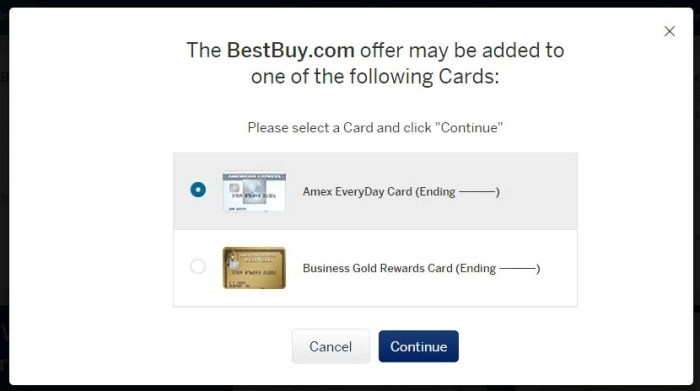 You can only enroll one card per Amex user account, so choose wisely when you see a similar screen.