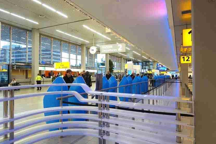 The international departures hall at Schipol.