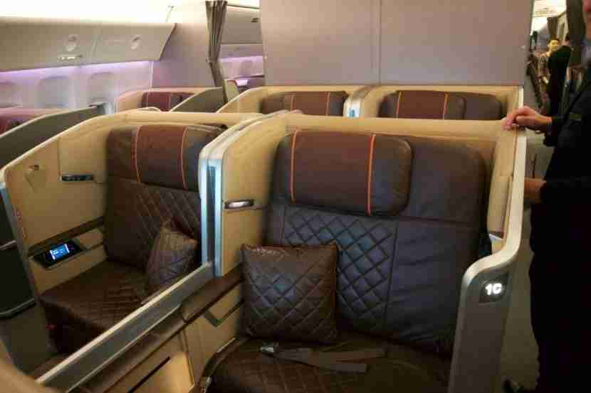 Cozy color scheme for the First Class cabin