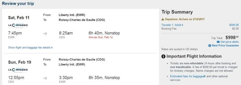 Newark (EWR) to Paris (CDG) for $998 round-trip for Valentine's Day through Expedia.
