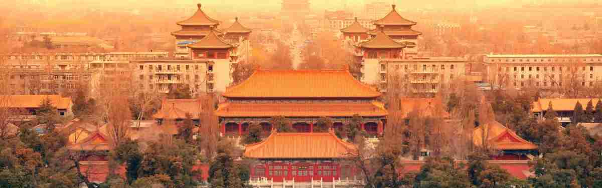 Aerial view of Beijing with historical architecture, China.