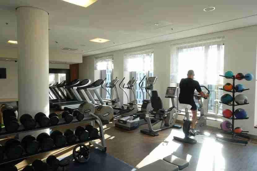 The fitness center is within the Guerlain Spa.