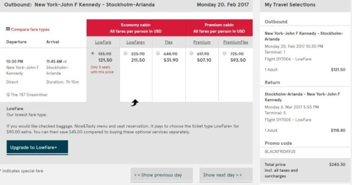 New York (JFK) to Stockholm (ARN) for $240 round-trip.