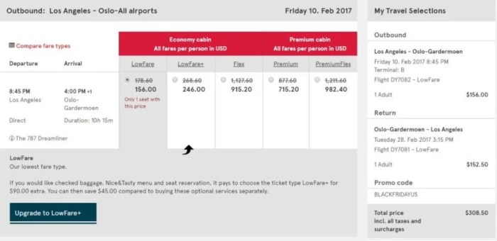 Los Angeles (LAX) to Oslo (OSL) for $309 round-trip in February.