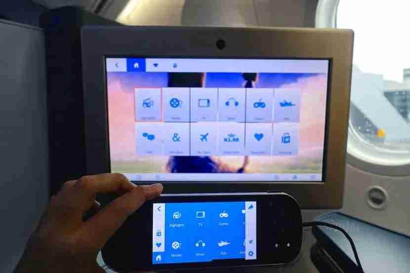 The IFE screen and remote.
