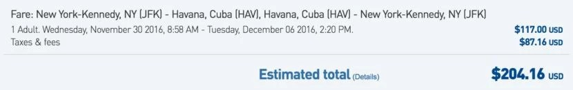 New York (JFK) to Havana (HAV) for $204 round-trip in November on Jetblue.
