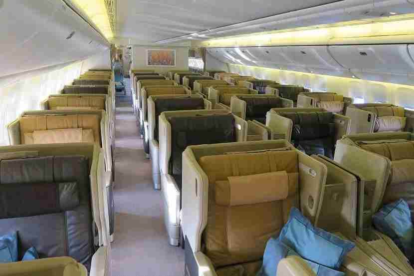 The much-larger business class cabin.