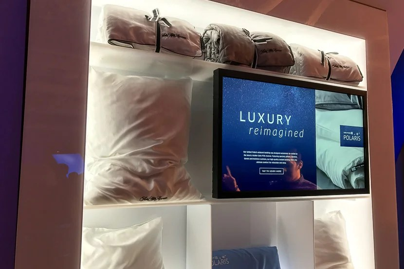 United Polaris will feature brand-new bedding from Saks Fifth Avenue.