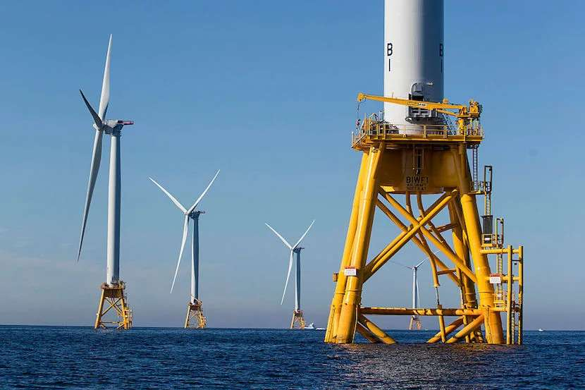 Block Island Wind Farm is the nation's first off-shore wind farm. Image courtesy of Scott Eisen via Getty Images.