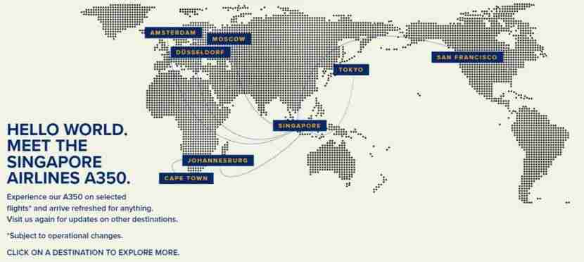 Looks like Singapore Airlines is going to need to update its A350 map. Image courtesy of Singapore Airlines.