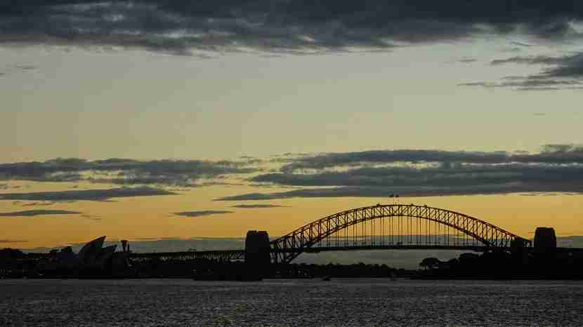 Sydney at sunset, taken from the return ferry from Manly. Image by the author.