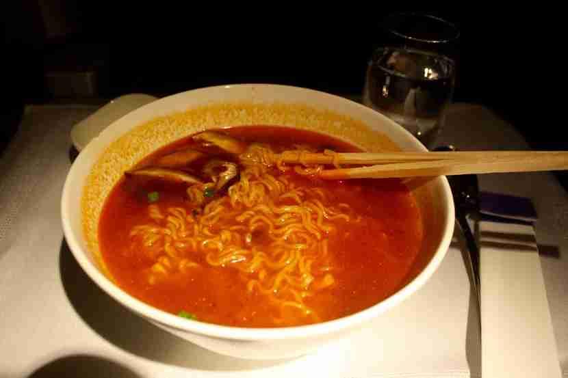 Ramen noodles were served as a mid-flight snack.