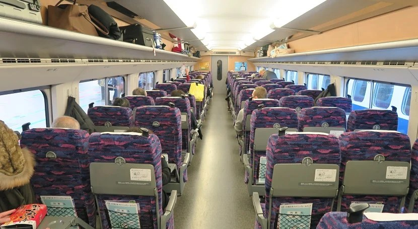 All Shinkansen trains we rode on were arranged 2-3 in the main cabin.