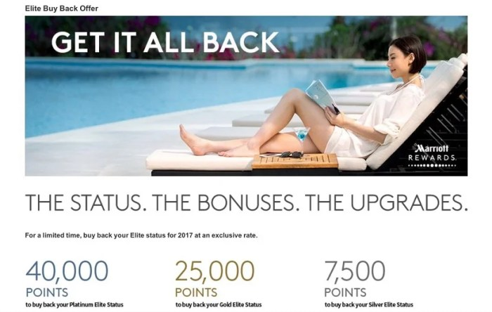 If you qualify, you can buy back Marriott elite status starting at just 7,500 points.
