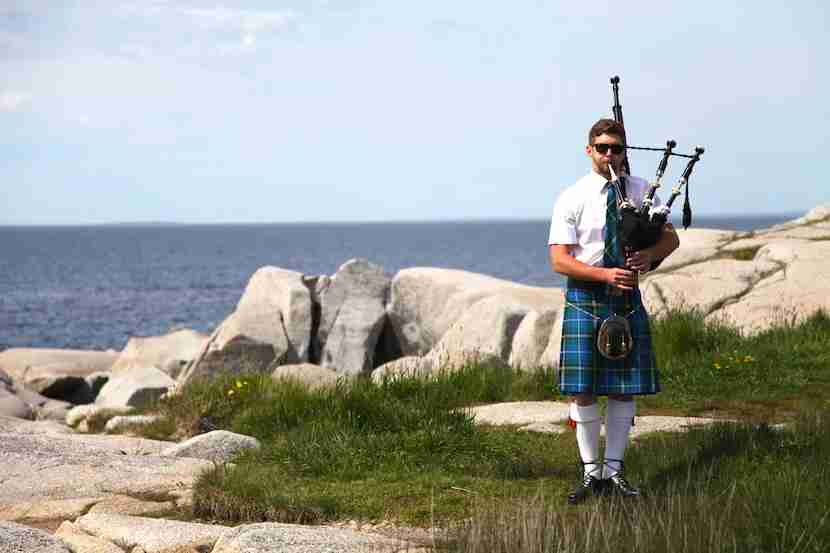 Hear the bagpipes calling at Peggy's Cove in Nova Scotia. Image by the author.