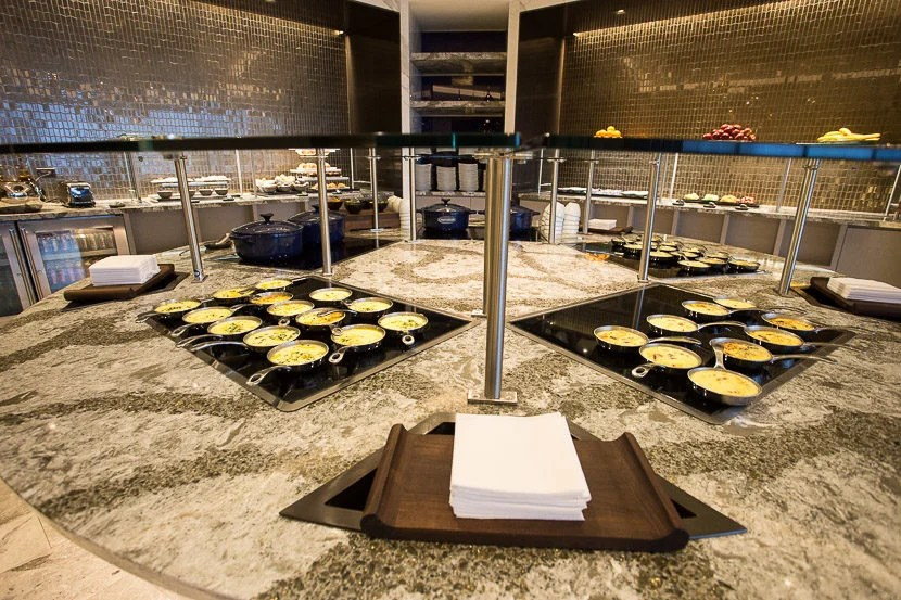 The breakfast buffet had three frittata options, as well as two types of porridge.