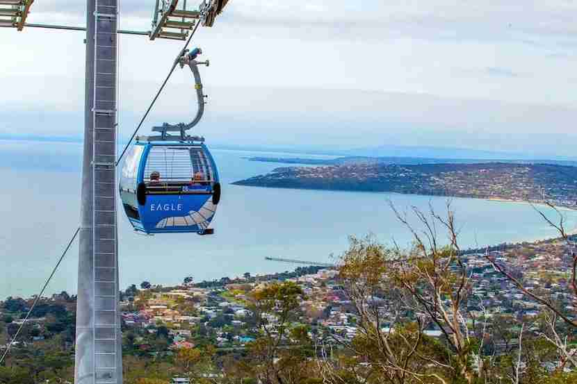 One of the most scenic views of the city is on the Arthurs Seat Eagle gondola in the Mornington Peninsula. Image courtesy of Visit Victoria
