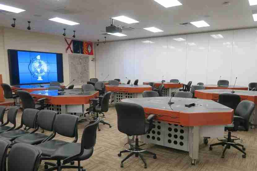 Interactive classroom in DFW FTRC. At each desk, trainees have their owntouchscreen training system.