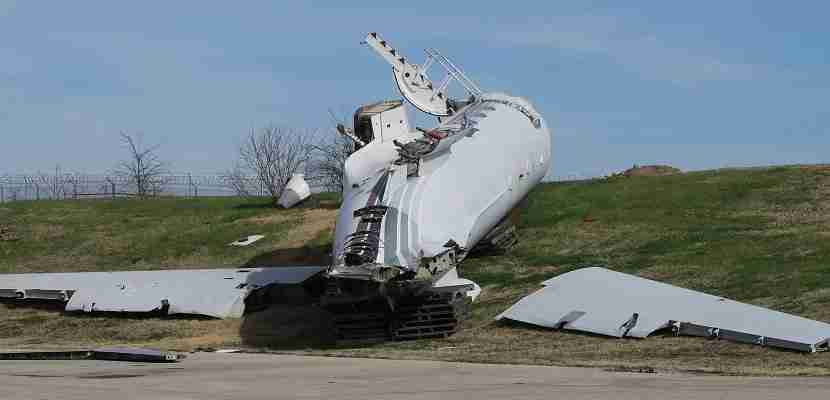 Trainees have to learn to respond to all sorts of situations, including an aircraft on its side.