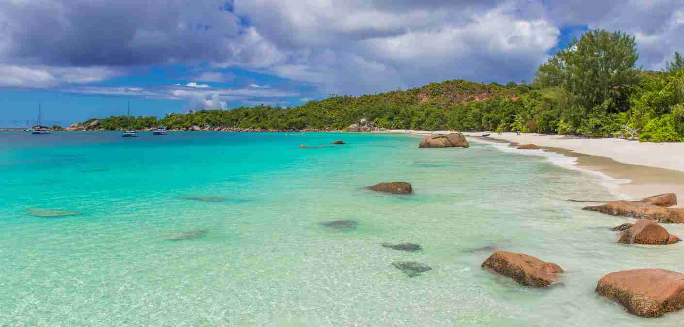 Anse Lazio - Paradise beach in Seychelles, tropical island Praslin with white beaches and clear water